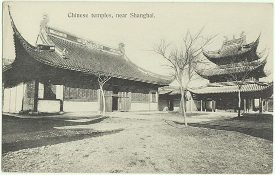 Chinese Temples near Shanghai. Old China Postcard.