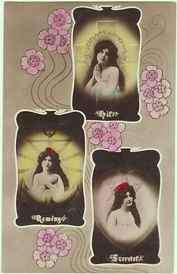 Art Nouveau Postcard: Faith, Confidence, Love. 1907