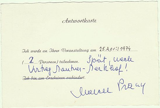 Marcel Prawy: Autograph on Card and Telegram by him