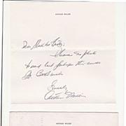 Arthur Miller Autograph: Hand written Letter in original Cover. 1975