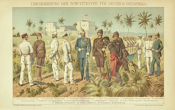 German-East Africa: Recruitment of captured Africans. 1899.