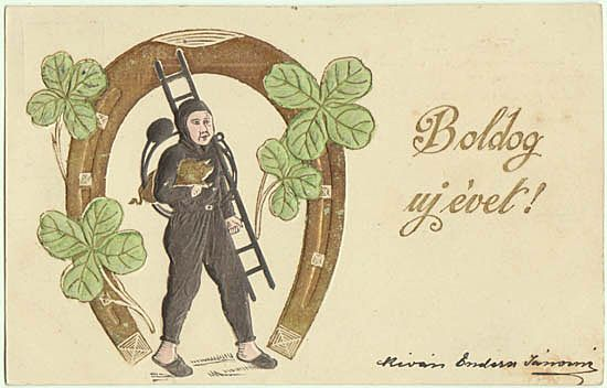 Embossed New Years Postcard. Chimney Sweeper. 1901