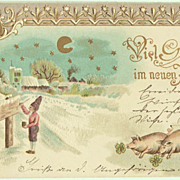 Vintage New Year's Postcard with Dwarf and Pigs 1902