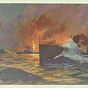 WWI: Postcard with Torpedo Ship. Red Cross 1916
