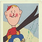 Happy Skiing. Funny vintage Postcard, Artist signed.