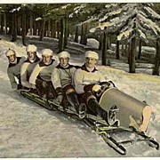 1910: 5 Men on a Bob-Sledge. Vintage Postcard.