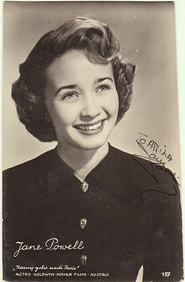 Jane Powell Autograph: Early Photo, hand signed. CoA