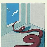 Decorative Serigraph. Surrealist Topic. Artist signed
