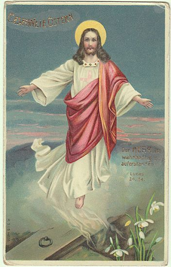 Happy Easter Vintage Postcard With Jesus Christ Over His