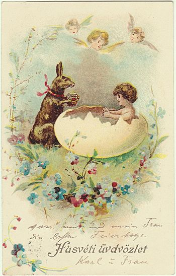 Lithographed Easter Postcard. Bunny and Baby in Egg. 1902