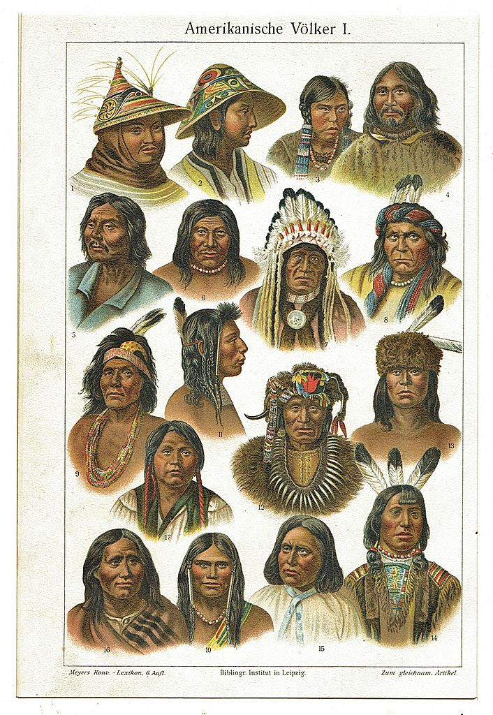 American Peoples, Indians: Decorative Chromo Lithograph, 1898