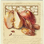 Embossed Art Nouveau Postcard, Apples and Dates, 1904