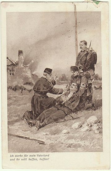 Priest blessing a wounded Soldier: Vintage Postcard World War 1.