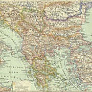 1898: Old Map of the Balkan Region.