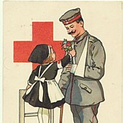 W.W.I: Red Cross. Postcard Girl with Soldier