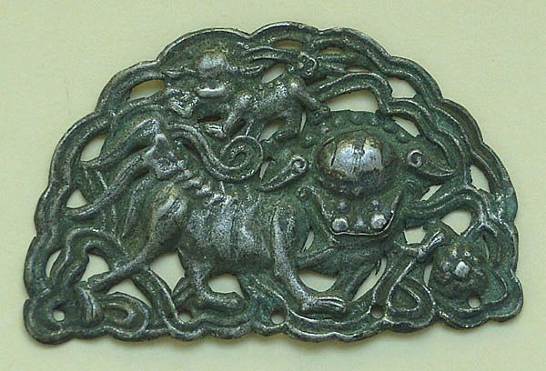 China, Qing Dynasty. Lions. Application for a Hat