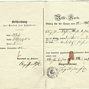 1852: Early Travel Permit from Europe