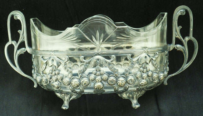 Art Nouveau Jardiniere. Glass Metal, Hall Mark.