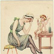 Lady and Cupid. Vintage Postcard. Artist signed Colombo