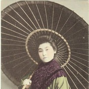 Japan: Lady with Umbrella. Tinted Postcard.