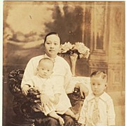 Philippines, Old Studio Photo of Lady with Kids. App. 1910