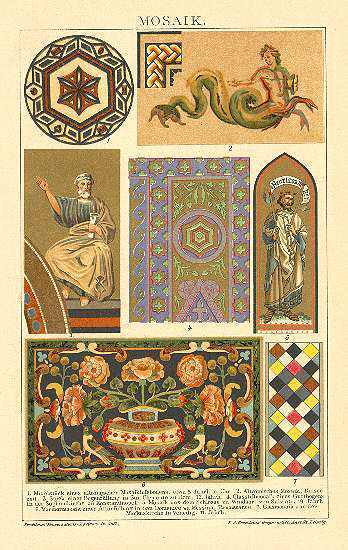 Mosaic: Old Chromo Lithograph from 1901