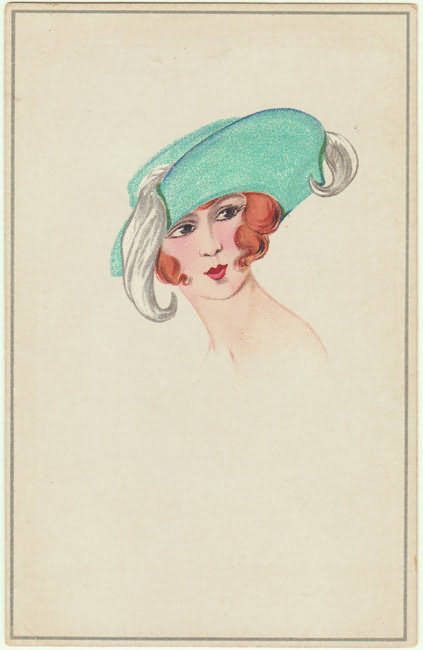 French Art Deco Postcard. Lithograph. Lady with fancy Hat.
