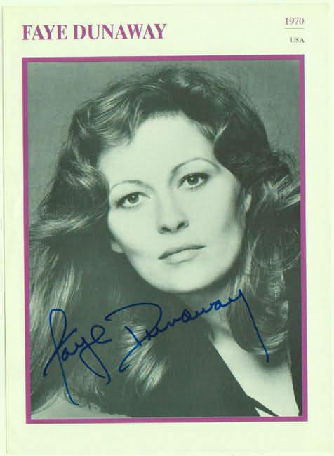 Faye Dunaway Autograph. Hand signed Print. CoA