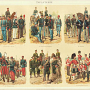 Infantry: Antique Chromo Lithograph. 6 Scenes