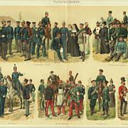 Corpsmen: Antique Chromo Lithograph. 6 Scenes, 1902