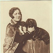 Singer Olga Bauer-Pilecka with her Dogs. Vintage Photo Postcard.