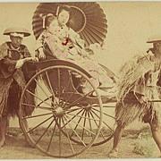Japanese Albumen Photo: Ladies in Rickshaw. 1880s