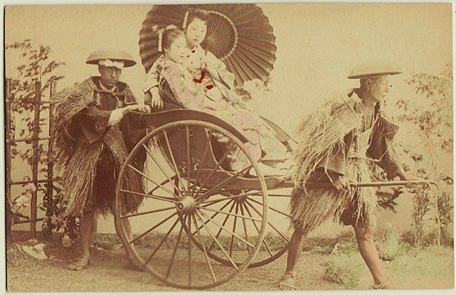Japanese Albumen Photo: Ladies in Rickshaw. 1880s