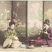 Japanese Ladies in Kimono taking Dinner. Tinted Postcard