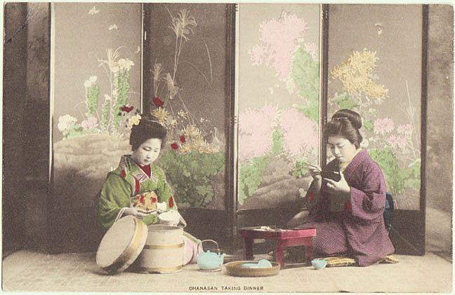 Japanese Ladies in Kimono taking Dinner. Tinted Postcard