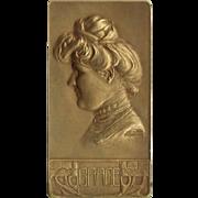 Gurschner Bronze Bas Relief, Grace. Artist signed.