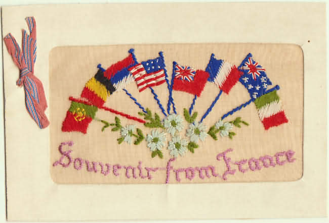 Souvenir from France. Stitched Greeting Card.