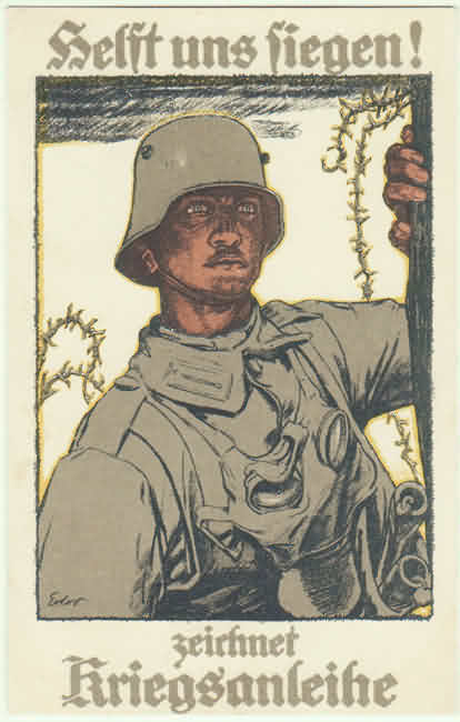 Sign War Bonds: Lithographed postcard from WW1