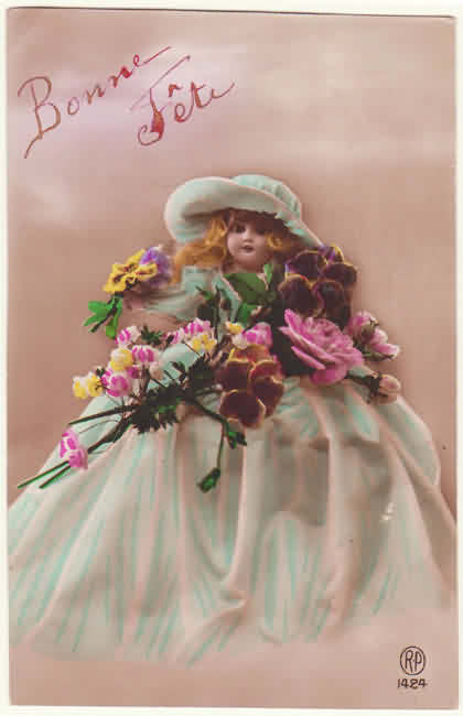Vintage New Years Postcard with nice Doll, 1922