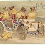 Funny Easter Postcard. Chicks in a Limousine.