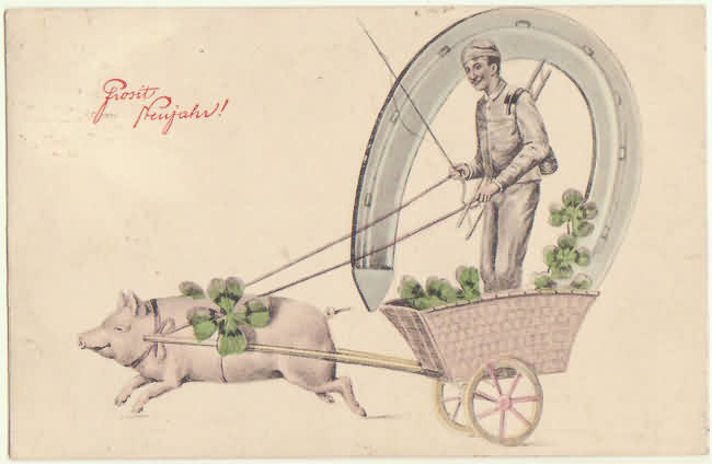 Happy New Year. Vintage postcard with Pig and Symbols. 1908