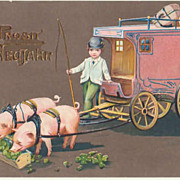 Happy New Year. Vintage Postcard Postman with Pigs.