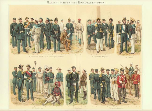 Marines and Colonial Troops: Antique Chromo Lithograph. 1902