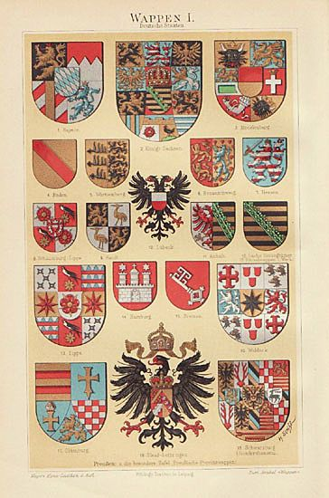 4 Chromo Lithographs. Coat of Arms. 1900