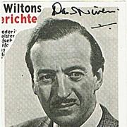 David Niven Autograph on Magazine Snippet. CoA