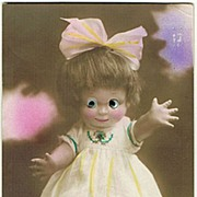 Doll with Plastic Eyes. Vintage Postcard 1928