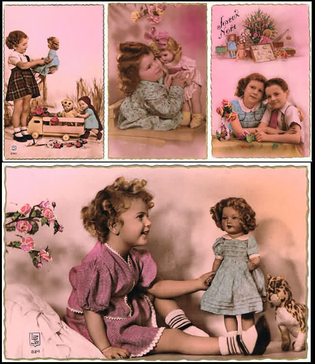 4 vintage Postcards related to Girls and Dolls