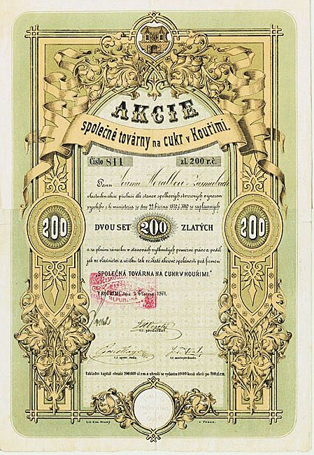 Czech Sugar Refinery Kourimi Stock Certificate from 1871