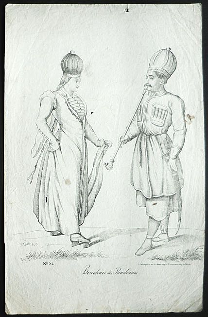 19th Century: Caucasus People. Lithograph by Trentsensky, 9 x 14