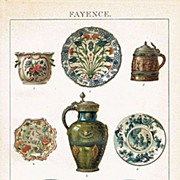 Fayences: Lithograph from 1900 with 8 Examples